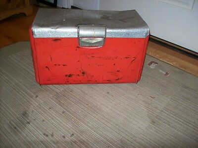 Vint./ Antique Metal Cooler Antique Outdoor Soda Pop Ice Chest Box~by Poloron
