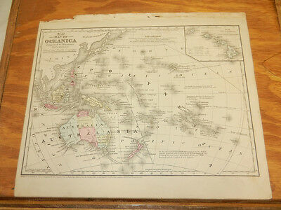 1852 Mitchell Antique COLOR Map///OCEANICA (Oceania), b/w AFRICA