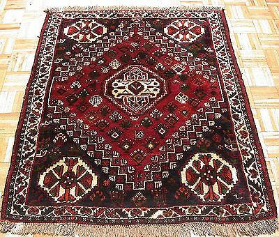 4x5 PERSIAN ORIENTAL TRIBAL QASHQAI HAND KNOTTED TRADITIONAL RED WOOL AREA  RUG