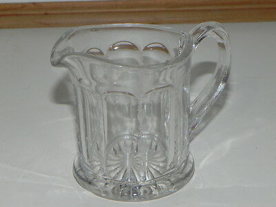 Vintage Glassware: Pretty Cut Glass Cream  pitcher with etching on the edging