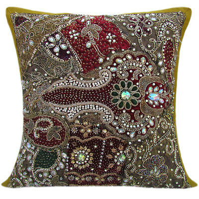 """16"""" INDIAN CUSHION PILLOW COVER THROW BEADED Handmade Ethnic Vintage Embroidery"""