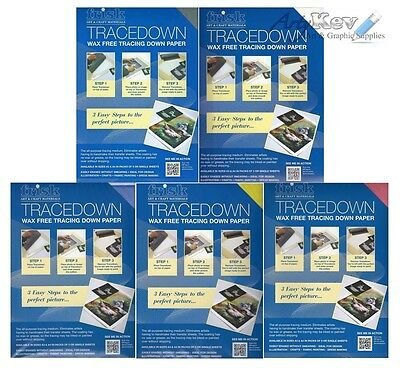 Frisk Tracedown Paper A4 - Graphite, Blue, Red, Yellow or White - Pk of 5 sheets