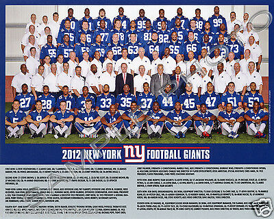 2012 New York Giants Football 8X10 Team Photo Picture