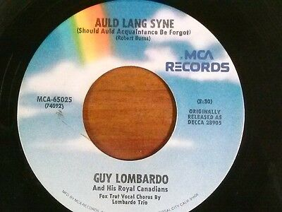 """GUY LOMBARDO 45 RPM """"Auld Lang Syne"""" """"Hot Time in the Old Town Tonight"""" VG+ cond"""