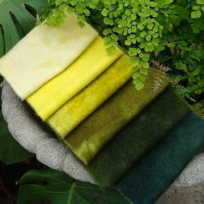 """6-Pack Bundle hand-dyed wool from WoolyLady  Greens Galore 6"""" x 16"""""""