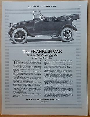 Vintage 1915 magazine ad for Franklin - Most Talked about Fine Car, touring car