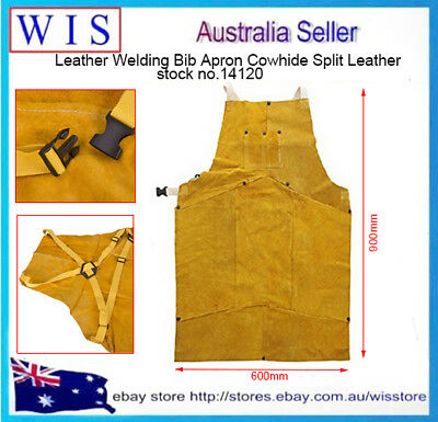 "Leather Welding Bib Apron,36""Golden Brown,Adjustable Straps,Heat Resistant-14120"