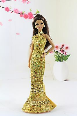 Fashion royalty Party Gold Evening Cheongsam Dress/Gown For Barbie Doll