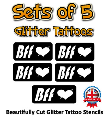 5 x BFF glitter tattoo stencils great for parties or sleepovers