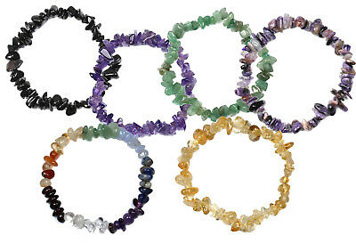 Gemstone Chip Bracelets, Natural Polished Crystal Various Tumble Chip Bracelets