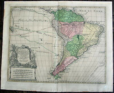 Antique Map of  South America  by Lotter - 18th century - 1772  (# 1781)