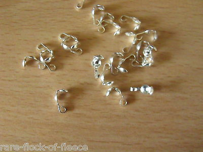 NEW .925 STERLING SILVER CALOTTES NECKLACE BEAD END TIPS CLAM SHELLS 3mm SF045