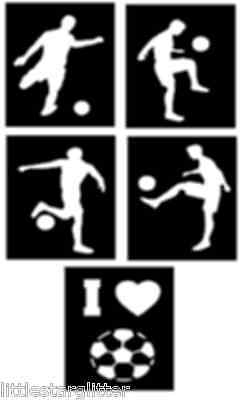 FOOTBALL glitter tattoo stencils, GREAT DESIGNS for football parties, pack of 5