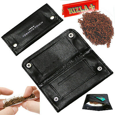 Tobacco pouch wallet smoking case fullylined soft leather Rizla Swan slot pocket