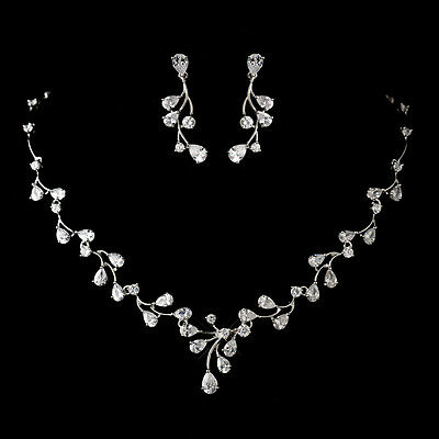 Wedding Jewelry Set, Bridesmaid Antique Silver CZ Crystal Necklace & Earring Set