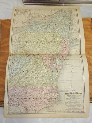 1852 Mitchell Antique COLOR Map///MIDDLE STATES
