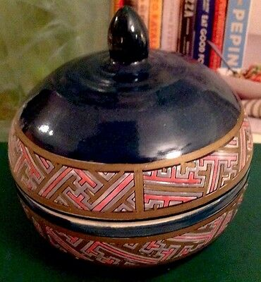 VTG Lovely Chinese Original Handmade/ Hand Painted Ceramic Candy Jar With Lid.