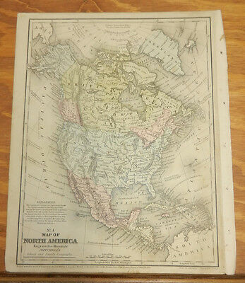 1852 Mitchell COLOR Map///NORTH AMERICA b/w THE HEMISPHERES