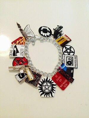 Supernatural Sam & Dean Winchester Cas Loaded Handmade Bracelet Plastic Charms