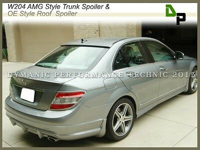 #775 Silver AMG Trunk Spoiler & OE Roof Wing For BENZ W204 C250 C300 Sedan 08-14