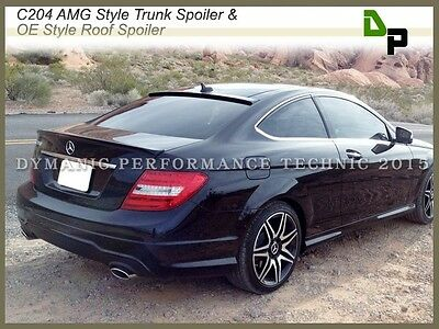 #040 Black AMG Trunk Spoiler & OE Roof Wing For M-BENZ C204 C-Class Coupe 12-14