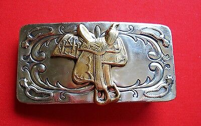 Vintage  Nickel Silver Small Saddle Belt Chambers Belt CO. Buckle