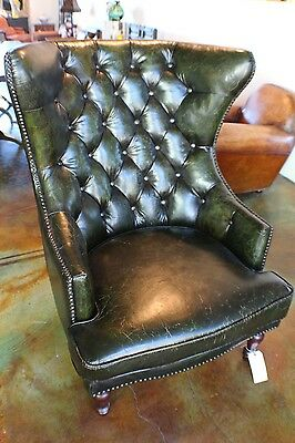 """Set of two 48"""" H Chair wing quality grain leather vintage green SPECIAL ORDER"""