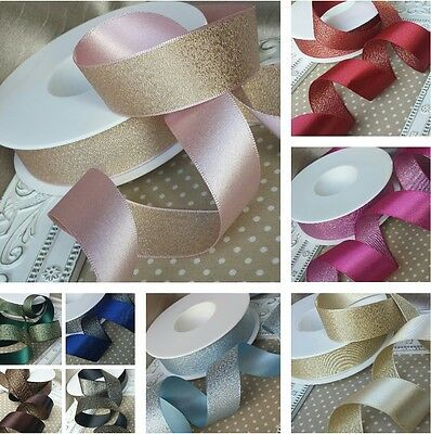 10, 15, 25, 38mm  Reversible satin metallic glitter ribbon.Wedding Invitation