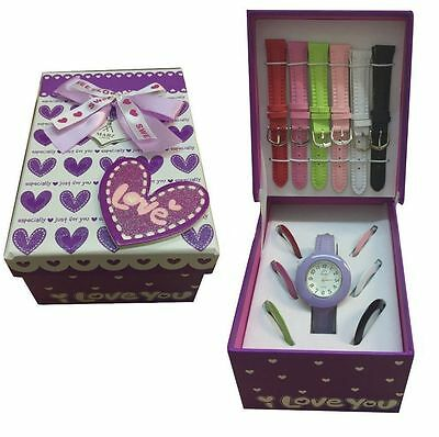Ladies/Girls Watch Gift Set With Multicolour Interchangeable Straps - AN05