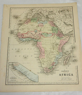 1864 Colton COLOR Map/AFRICA, b/w AUSTRALIA, NEW ZEALAND, OCEANICA/Oceania
