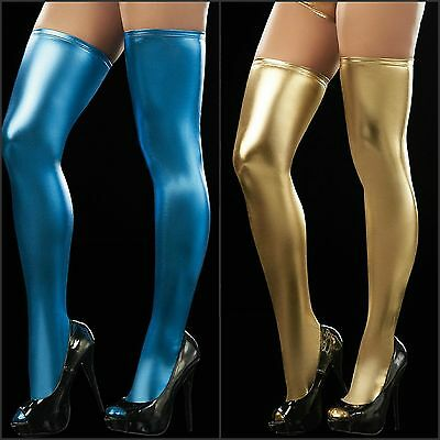 Sexy New Women's Faux Leather Thigh High Hosiery Stockings Lingerie G-string Set