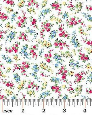 Benartex Sweetie Pie Cotton Quilt Fabric Small Floral Nosegays White Red 1/2Y