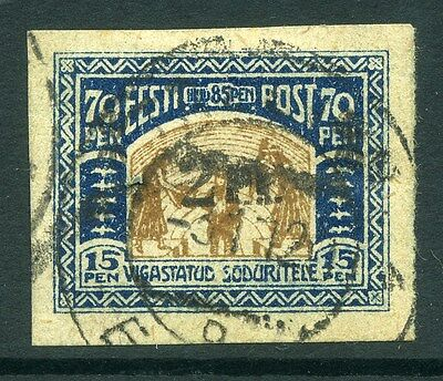 ESTONIA;  1920 early Imperf surcharge issue fine used 2M.