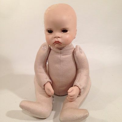 """Vtg Baby Doll Bisque Head Hands Jointed Cloth Body 14"""""""