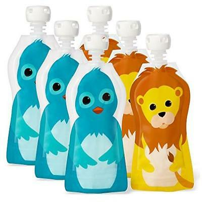 Baby Food Freezer Storage 2.5 Ounce Set Of 6 Reusable & Refillable Pouches Toddl