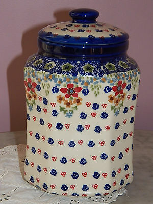 UNIKAT Artist Signed! Polish Pottery 2.5 L Six Sided Canister!  Ruby Tuesday!