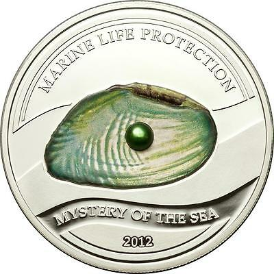 Palau 2012 Mystery of the Sea Marine Life Protection Green Pearl 25g Silver Coin