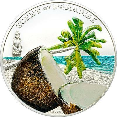Palau 2009 $5 Scent of Paradise - Coconut 25g Silver Coin with Coconut Fragrance