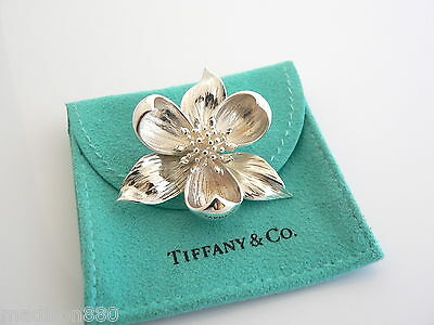 Tiffany & Co Silver Orchid Nature Flower Brooch Pin Rare Vintage Excellent