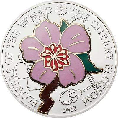 Cook Islands 2012 Flowers of the World - Cherry Blossom in Cloisonné Silver Coin