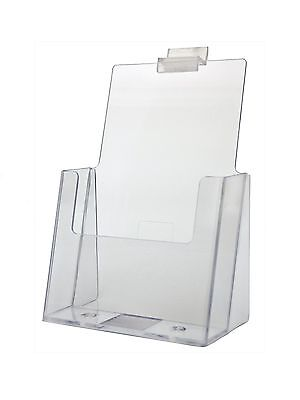 "Clear Acrylic Slatwall Brochure Holder for 5.5 "" w Literature"