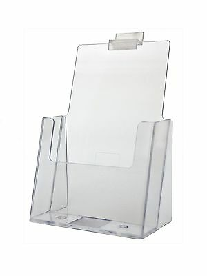 "Lot of 24 Clear Acrylic Slatwall Brochure Holder for 5.5 "" w Literature"