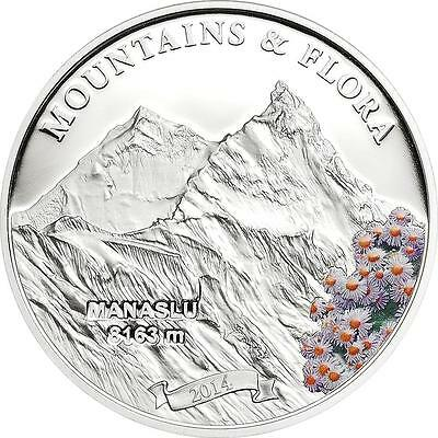 Palau 2014 $5 Mountains and Flora 2014 II Manaslu Nepal 20g Silver Proof Coin