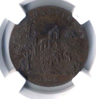 D & H 1 G Britain: Sussex Battle Abbey Ruins 1/2 Penny Token 1796 MS64 BN BY NGC