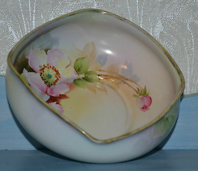 Antique Nippon Hand Painted Small Bowl Ladle Pink Rose Floral