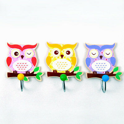 New set of 12 wooden small single clothes hooks - cute baby Owl