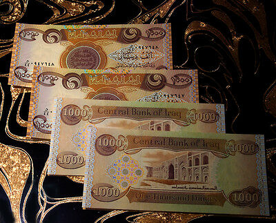Lot of 4 x 1,000 New Iraqi Dinar Notes UNC 4,000 Total Bills Notes Currency