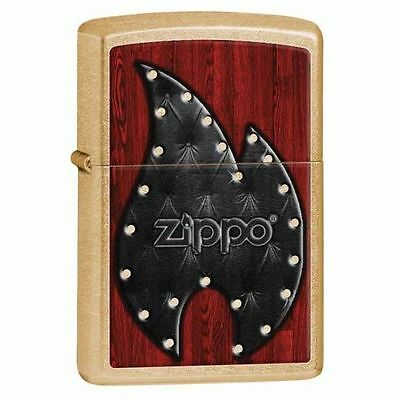 Zippo Windproof Gold Dust Lighter With Flame And Logo, # 28832, New In Box