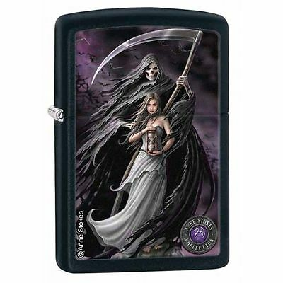 Zippo Windproof Black Matte Anne Stokes Lady Reaper Lighter, # 28856, New In Box