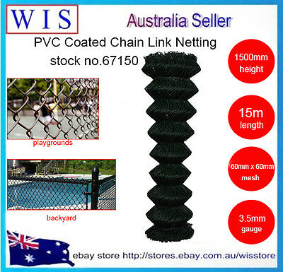 BLK PVC Coated Chain Wire Mesh Fence,Chain Link Netting,1.5m x 15m,35Kg-66150